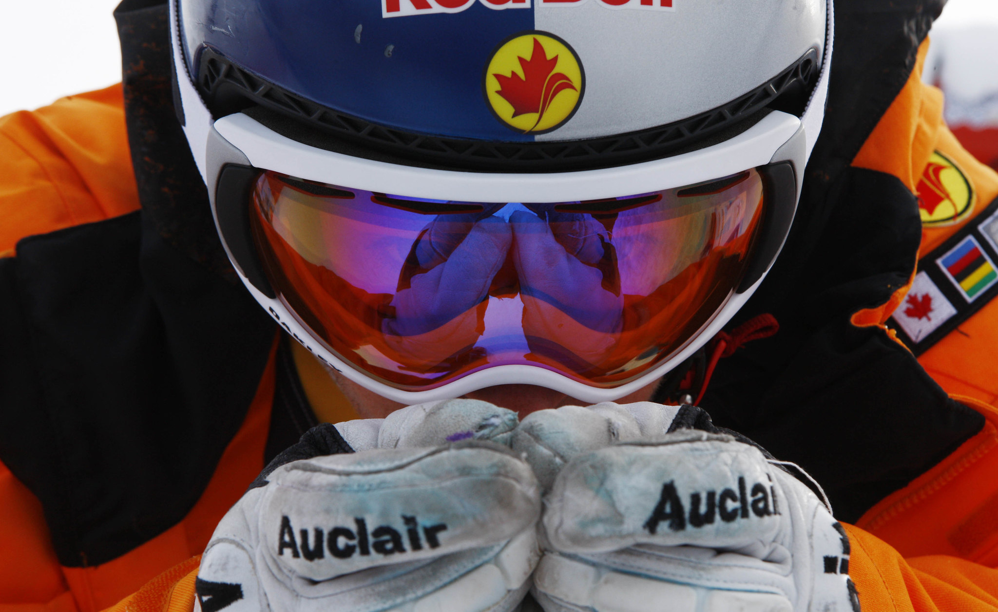 Erik Guay prepares for  World Cup downhill training in Val Gardena, Italy.