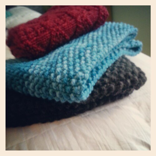 The island of misfit cowls...I think I'll wrap them together and let my sister pick.
