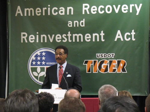 Rep. Emanuel Cleaver at a press conference (courtesy of MoBikeFed)