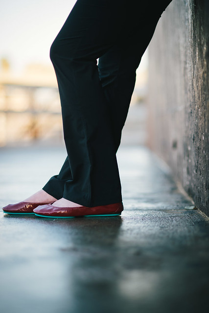 Tieks in ruby red with Anatomie black pants