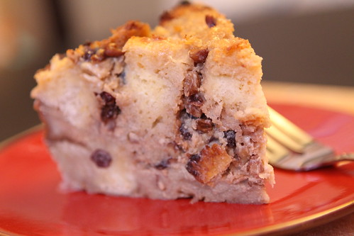 Egg Nog Bread Pudding with Caramel Sauce, Currants, Raisins, and Pecans