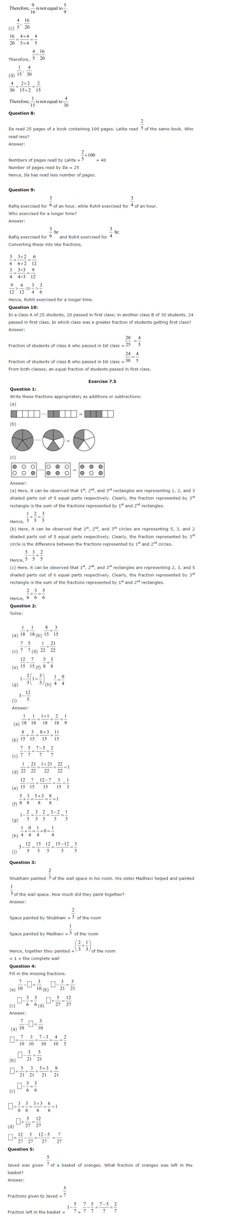 NCERT Solutions For Class 6th Maths Chapter 7 Fractions PDF Download