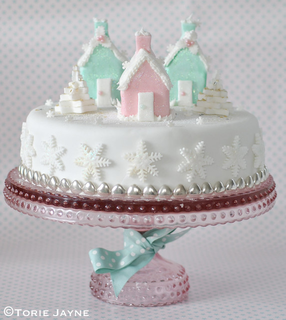 My iced houses Christmas cake