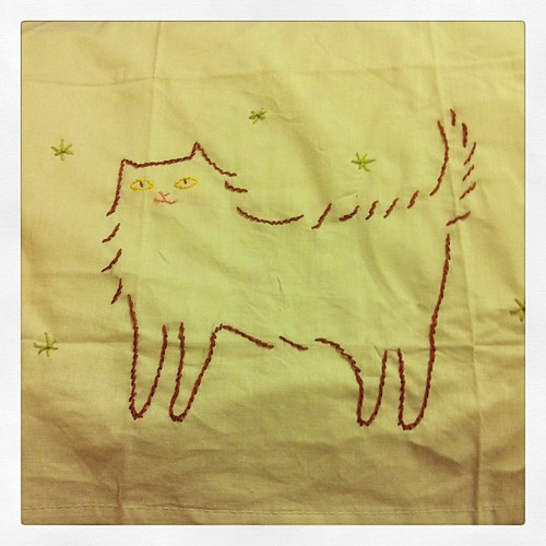 My Nilla tea towel that I embroidered. Now I added stars.