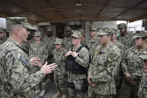 (MCPON) Mike D. Stevens speaks with Sailors assigned to the Harbor Patrol Unit of Naval Security Forces, Bahrain