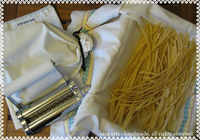 Homemade Pasta and cotton bags