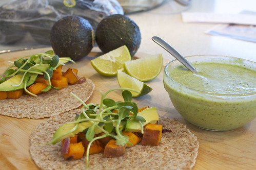 Miso-Maple Roasted Sweet Potato Tacos with Coconut-Cilantro Sauce