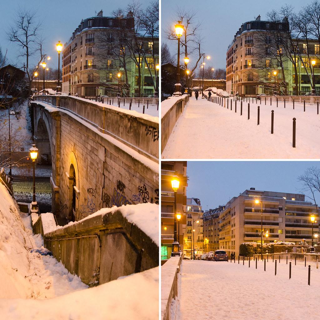 Le Pont Charles Renouvier sous la neige