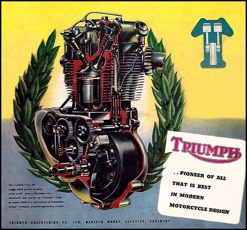1953 Triumph Engine Cutaway by bullittmcqueen