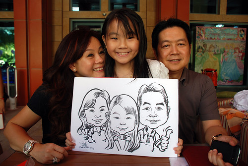 caricature live sketching for Mark Lee's daughter birthday party - 4