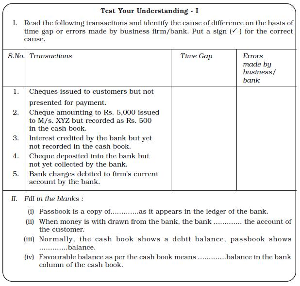Ncert Class Xi Accountancy: Chapter 5 – Bank Reconciliation