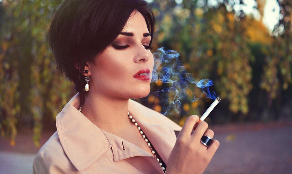 Classy mature smoker