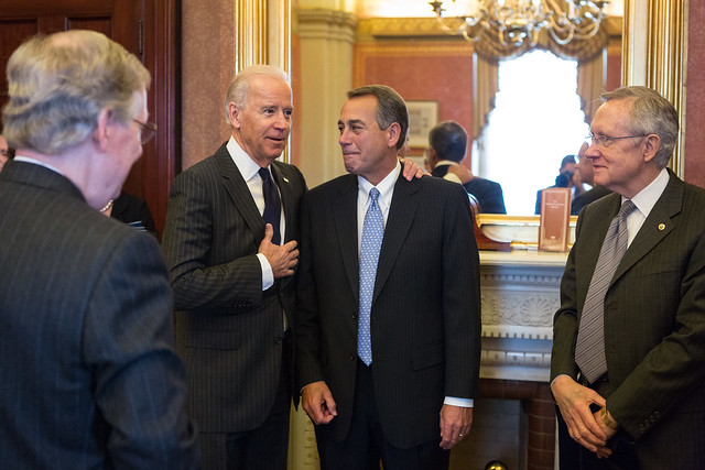 The fiscal cliff negotiators in friendlier times. Photo from Speaker Boehner's office on Flickr. Licensed under Creative Commons.