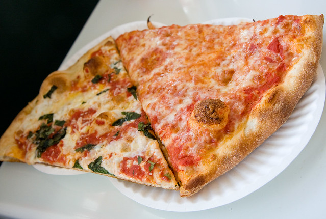 Margherita slice and Brooklyn slice, Williamsburg Pizza