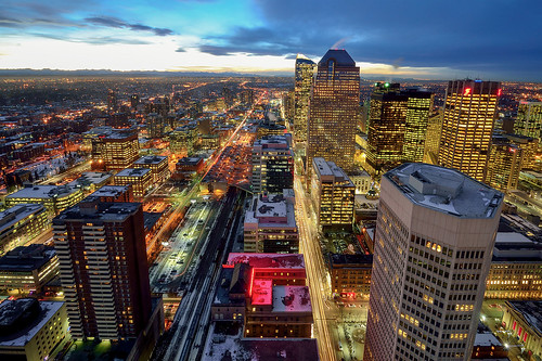 lighting city winter sunset snow canada building calgary night twilight nikon downtown cityscape nightscape cloudy wide perspective wideangle alberta bluehour calgarytower downtowncalgary d600 nikond600