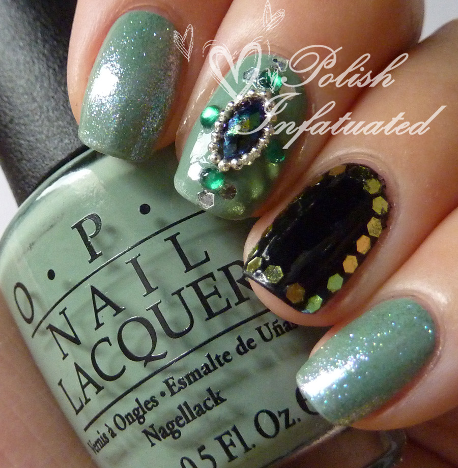 green jewelled nails5