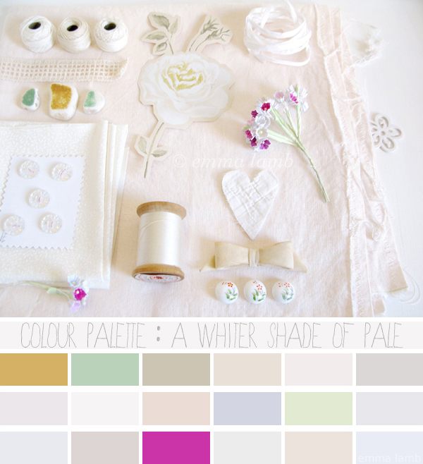 colour palette : a whiter shade of pale, curated by Emma Lamb / photograph © emma lamb