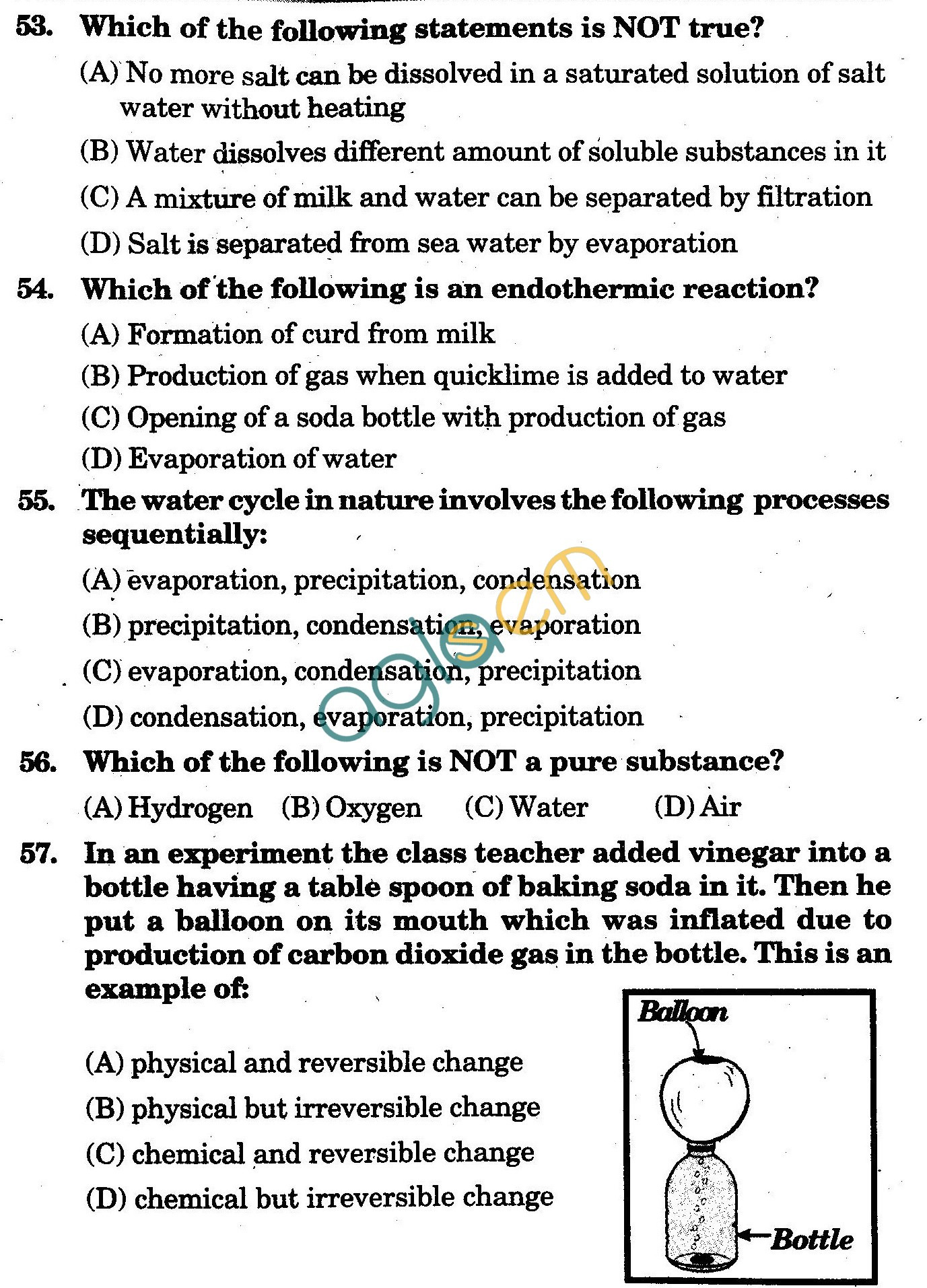 NSTSE 2009 Class VI Question Paper with Answers - Chemistry