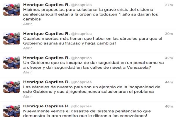 Así lo expresó Henrique Capriles a través de su cuenta Twitter.