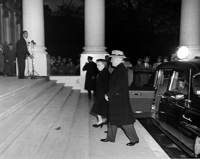 President Harry S. Truman and First Lady Bess Truman Returning to the White House after the Renovation, 03/27/1952