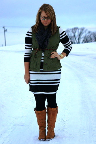 striped dress + vest