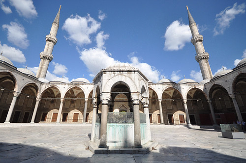 Courtyard - The Sultan Ahmed Mosque (Blue Mosque) with people digitally removed