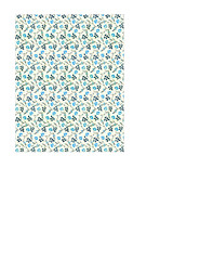 11b BOLD antique blue painted wallpaper flowers SMALL SCALE - A2 card size PORTRAIT or VERICAL
