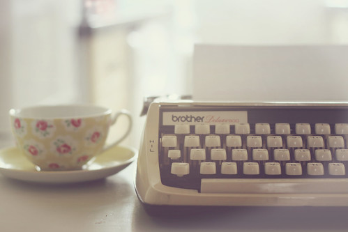 typewriter and tea.