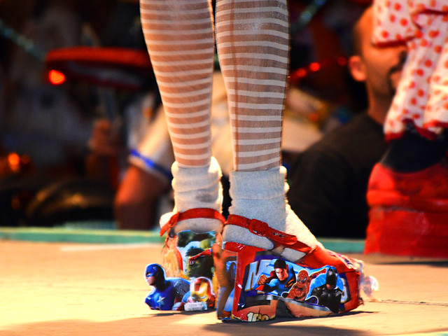 Comic themed high heels, carnival, Puerto de la Cruz, Tenerife