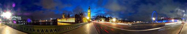 Westminster Bridge at Night - Panorama