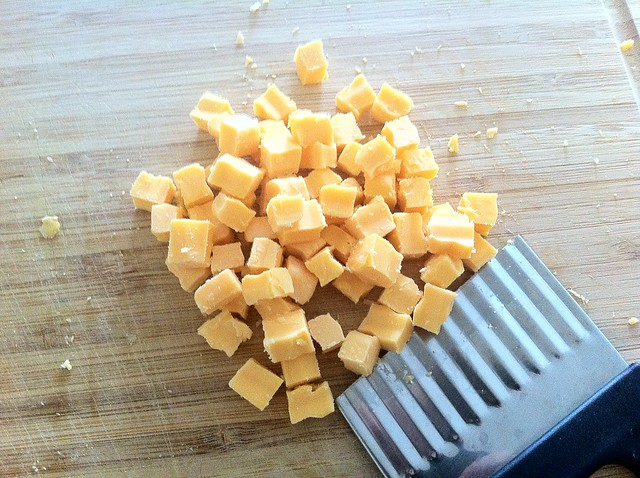 Cubing Yellow Cheddar Cheese