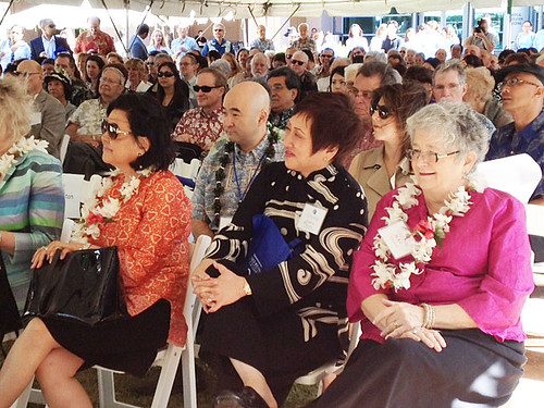 <p>From left, Irene Hirano Inouye, Ken Inouye, U.S. Representative Colleen Hanabusa and UH President M.R.C. Greenwood at the grand opening of the UH Cancer Center.</p>