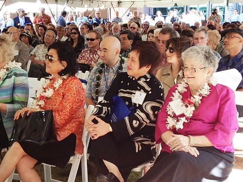 <p>From left, Irene Hirano Inouye, Ken Inouye, U.S. Representative Colleen Hanabusa and UH President M.R.C. Greenwood at the grand opening of the UH Cancer Center.</p>