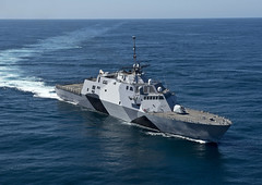 USS Freedom (LCS 1), which deploys from San Diego March 1, conducts sea trials off the coast of Southern California last week. (U.S. Navy photo by Mass Communication Specialist 1st Class James R. Evans)