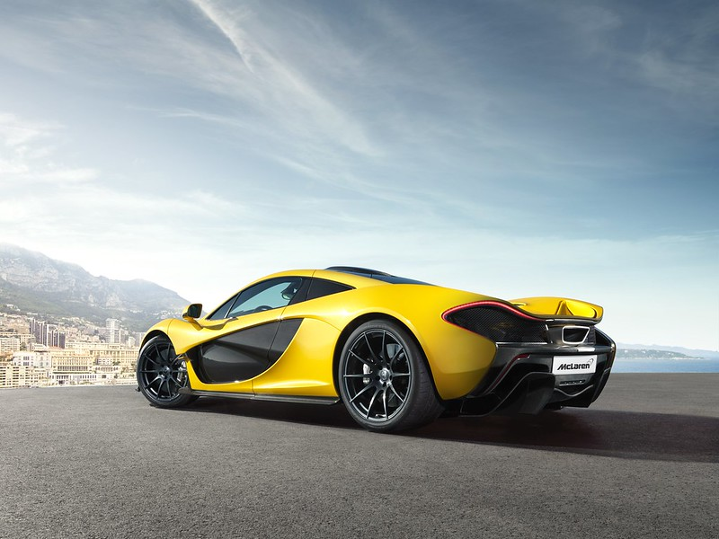 McLaren P1 Yellow Geneva rear