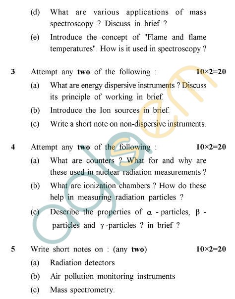 UPTU B.Tech Question Papers -IC-033 - Analytical Instrumentation