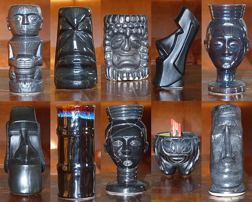 tiki mugs - parade in black