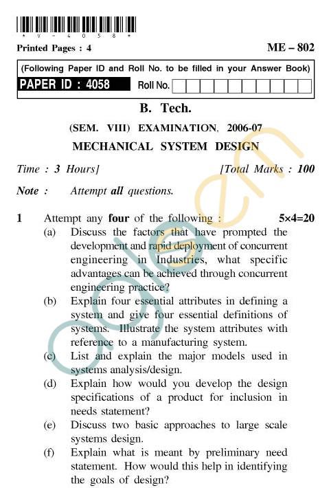 UPTU: B.Tech Question Papers - ME-802 - Mechanical System Design
