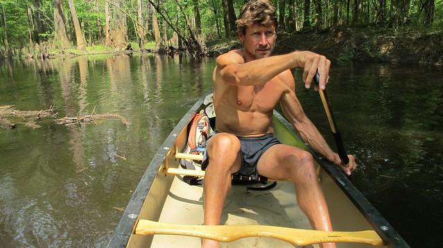 John Davis in a boat
