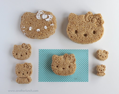 Hello Kitty Sandwich & Cookie Cutter Comparison with finished sandwiches