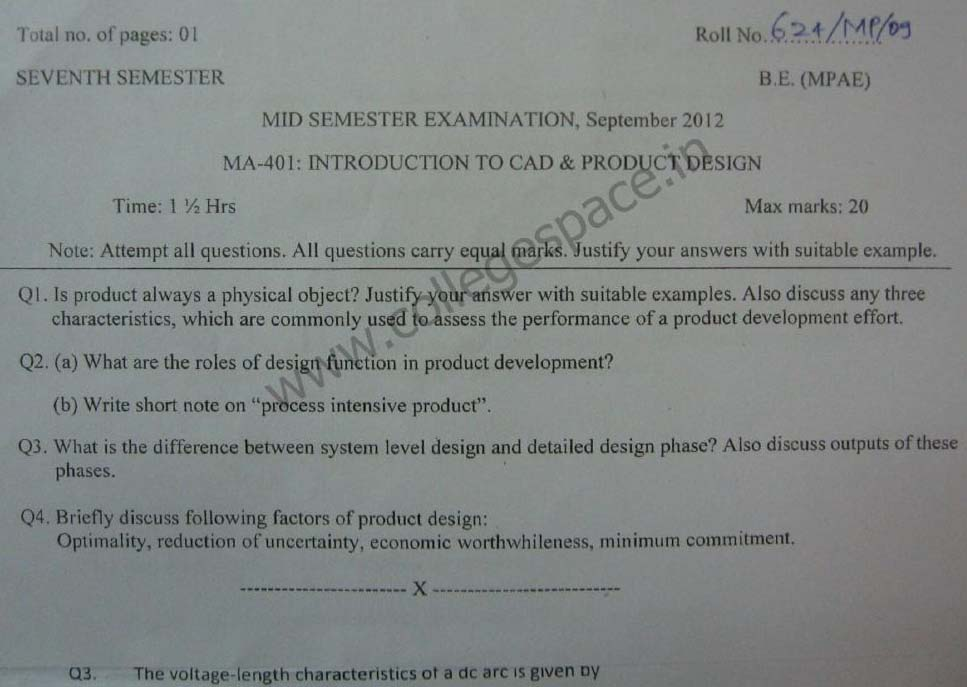 NSIT Question Papers 2012 – 7 Semester - Mid Sem - MA-401