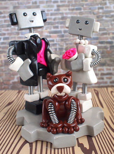 Commission: Robot Wedding Cake Topper with fancy tux and adorable dog by HerArtSheLoves