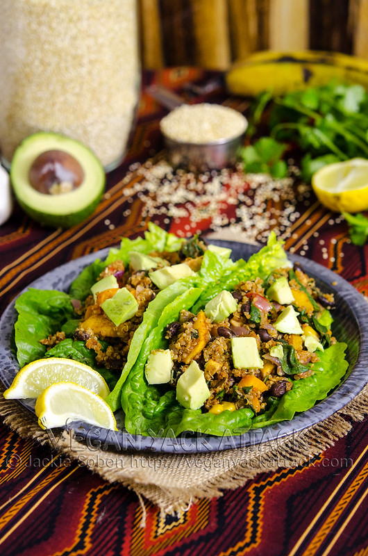 Two fiesta lettuce wraps on a plate with ingredients in the background