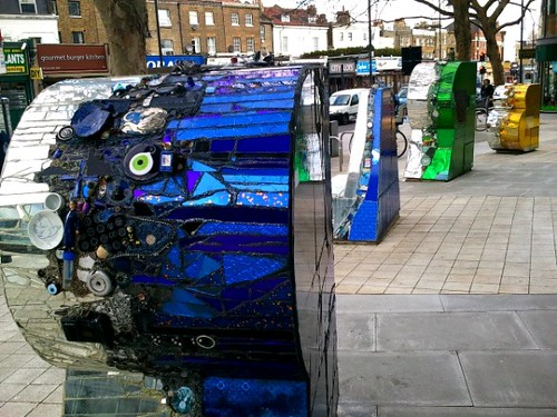 Sculptures outside Mary Seacole Centre in Clapham London