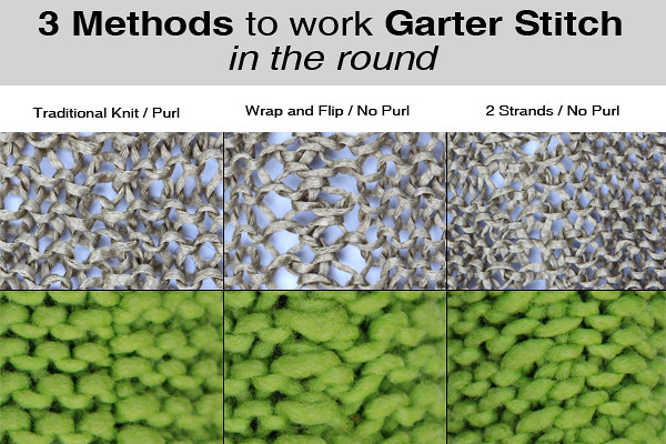 3 methods to work garter stitch in the round