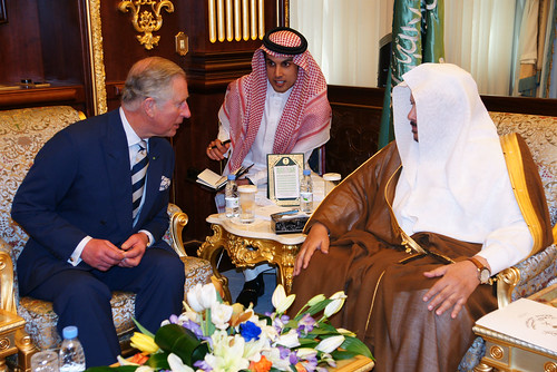 The Prince of Wales attends a discussion at the Majlis Ash Shura