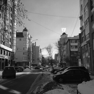 Urban landscape. A view of the street of Karl Marx