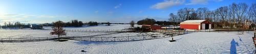 winter red panorama cloud snow tree field grass barn canon fence geotagged photo post farm pano bluesky panoramic silo wv shepherdstown westvirgina jeffersoncounty canonef24105mmf4lisusm eos5dmarkiii markaveritt