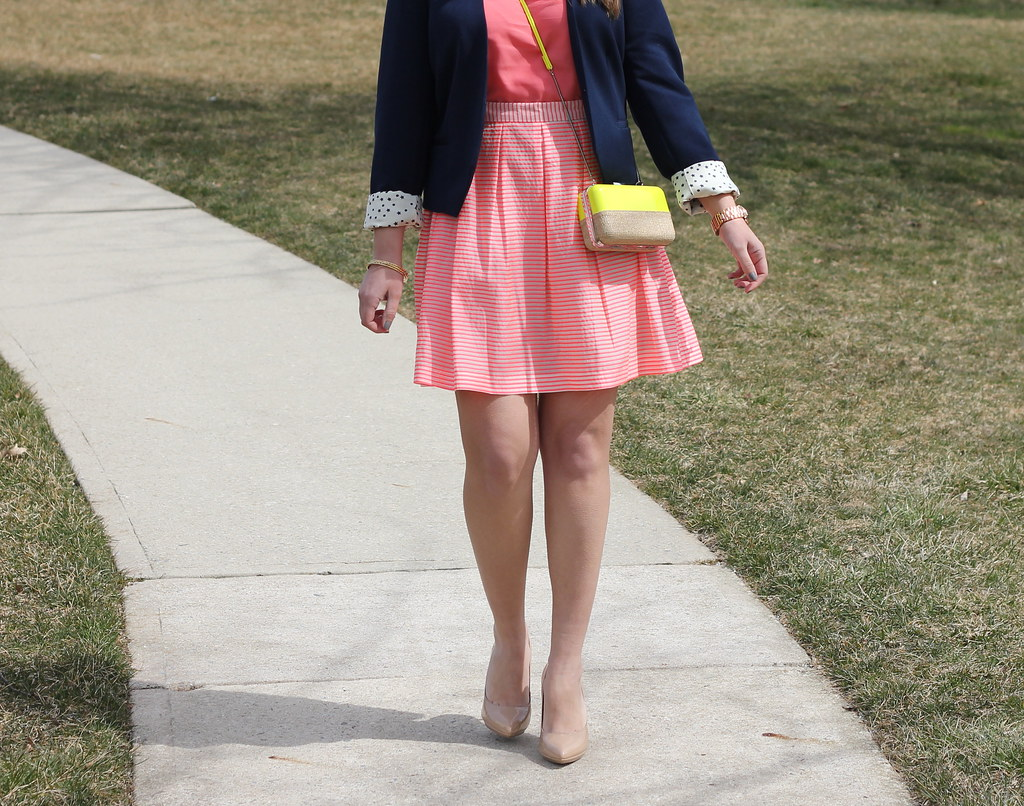 bright striped skirt outfit