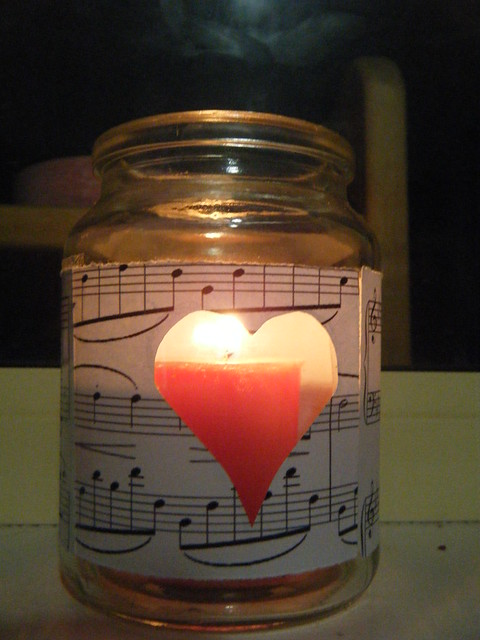 Music candle in the light